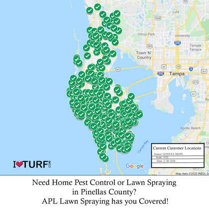 Map of Pinellas County  showing APL Lawn Spraying Customers