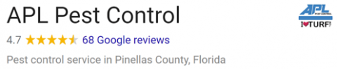 Google Review Rating of APL Pest Control