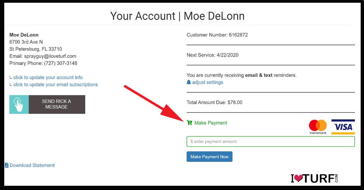 Customer  info page from iloveturf.com for Moe DeLonn